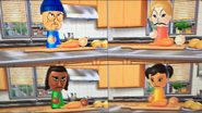 Julie, David and Miyu participating in Chop Chops in Wii Party