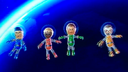 Stephanie, Steph and Hiromasa participating in Moon Landing in Wii Party