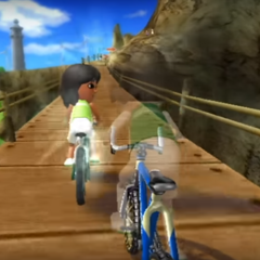 Haru (left) in Cycling