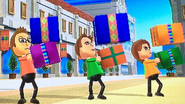 Nick, Barbara and Anna participating in Shifty Gifts in Wii Party