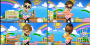 Vincenzo, Chris, and Hiroshi participating in Cry Babies in Wii Party