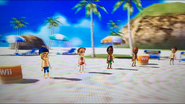 Barbara, Tommy and Matt participating in Flag Fracas in Wii Party
