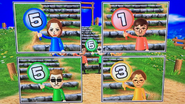 Elisa, Luca, Steve and Yoshi participating in Strategy Steps in Wii Party