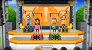 Fumiko, Oscar, and Ursula participating in Chin-Up Champ in Wii Party