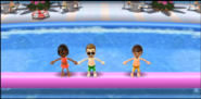 Ai, Steve, and Luca participating in Splash Bash in Wii Party