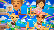 Mia, Fumiko, Takashi and Gabriele participating in Cry Babies in Wii Party