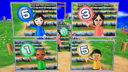 Misaki, Eva, Eduardo and Shinnosuke participating in Strategy Steps in Wii Party