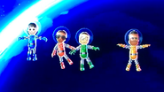 Rin, Gwen, Shohei and Tommy participating in Moon Landing in Wii Party
