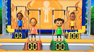 George, Mia, Miyu and Tommy participating in Chin-Up Champ in Wii Party
