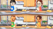 Rin, Giovanna, Marco and Gabriele participating in Chop Chops in Wii Party