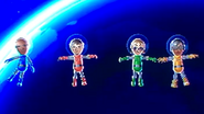 Eduardo, Luca, Siobhan and Ai participating in Moon Landings in Wii Party