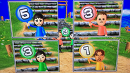 Rin, Michael, Misaki and Gabriele participating in Strategy Steps in Wii Party