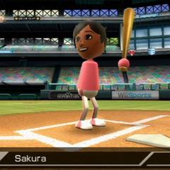 Sakura batting.