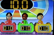 Eva, Hayley, and Shinnosuke participating in Stop Watchers in Wii Party