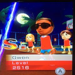 Gwen playing Basketball at Midnight.