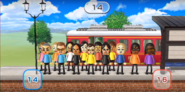 Siobhan, Takashi, Julie, Cole, Keiko, Tatsuaki, Takumi, Asami, Shinnosuke, Eva, Mike, Eddy, Ai, and Jackie featured in Commuter Count in Wii Party