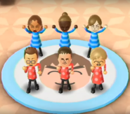Naomi, Emma, Lucia, Oscar, Michael, and Megan featured in Swap Meet in Wii Party