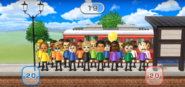 Mia, David, Saburo, Pierre, Andy, Alisha, Holly, Jackie, Abby, Midori, Miguel, and Yoko featured in Commuter Count in Wii Party