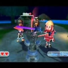 Silke (right) in Swordplay Showdown with Gorge (left) and Chika (middle).