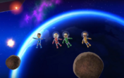 Silke, Keiko, and Jake participating in Moon Landing in Wii Party