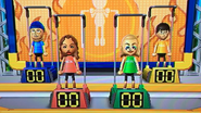 Noami, Holly and Ren participating in Chin-Up Champ in Wii Party