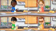 Sandra, Ursula, Ren and Cole participating in Chop Chops in Wii Party