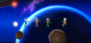 Abby, Miyu, and Jessie participating in Moon Landing in Wii Party