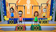 Eva, Akira, Yoko and Tyrone participating in Chin-Up Champ in Wii Party