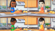 David, Pablo, Sakura and Marisa participating in Chop Chops in Wii Party