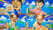 Shinnosuke, Misaki, Gabriele and Ursula participating in Cry Babies in Wii Party