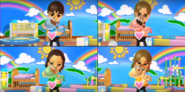 Abe, Tomoko, and Ashley participating in Cry Babies in Wii Party