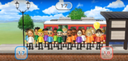 Ren, Kathrin, Miyu, Takashi, Hayley, Alisha, Andy, Giovanna, Naomi, Nelly, and Julie featured in Commuter Count in Wii Party