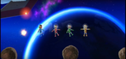 Hiromasa, Akira, and Lucia participating in Moon Landing in Wii Party
