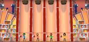 Jake, Eduardo, and Eva participating in Barrel Daredevil in Wii Party