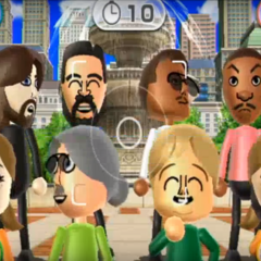 Miguel, James, Lucia, and Megan featured in Smile Snap in Wii Party (Note: Lucia dosen't suppose to wear facial features)
