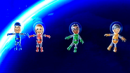 Abby, Sota and Ren participating in Moon Landings in Wii Party