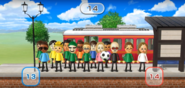 Luca, Gwen, Takumi, Nick, Rachel, Miyu, Martin, Yoshi, Kathrin, and Miyu featured in Commuter Count in Wii Party