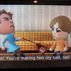 Barbara and Lucía fighting with Fritz the Teddy bear in Tomodachi Life