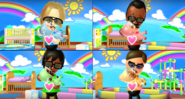 Hiroshi, Ai, and Vincenzo participating in Cry Babies in Wii Party