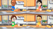 Eduardo, Misaki, Giovanna and Daisuke participating in Chop Chops in Wii Party