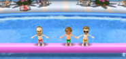 Ian, Chris, and Steve participating in Splash Bash in Wii Party