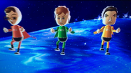 Asami, Pierre and Pablo participating in Space Brawl in Wii Party