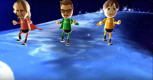 Ryan, Cole, and Emily participating in Space Brawl in Wii Party
