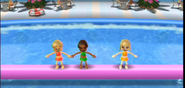 Megan, Hayley, and Gabi participating in Splash Bash in Wii Party