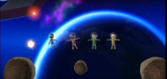 Sandra, Fumiko, and Shinta participating in Moon Landing in Wii Party