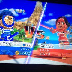 Mii_Trey against George in Swordplay Duel.