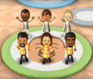 Hiroshi, Steph, Rachel, Kentaro, Tomoko, and Patrick featured in Swap Meet in Wii Party
