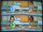 Anna, Tomoko, and Maria participating in Chop Chops in Wii Party