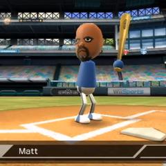 Matt in Baseball (batter) with Haru (catcher).
