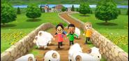 Keiko, Kentaro, and Gabi participating in Ram Jam in Wii Party